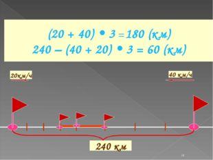 * (20 + 40) • 3 = 180 (км) 240 – (40 + 20) • 3 = 60 (км) 240 км