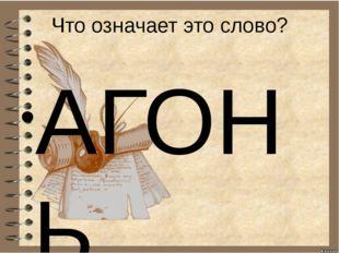 Что означает это слово? АГОНЬ