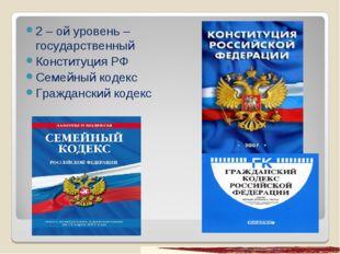 2 – ой уровень – государственный Конституция РФ Семейный кодекс Гражданский к