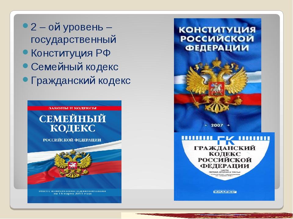 2 – ой уровень – государственный Конституция РФ Семейный кодекс Гражданский к...