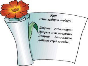 Добрые слова-корни Добрые мысли-цветы Добрые дела-плоды Добрые сердца-сад