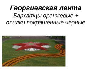 Георгиевская лента Бархатцы оранжевые + опилки покрашенные черные
