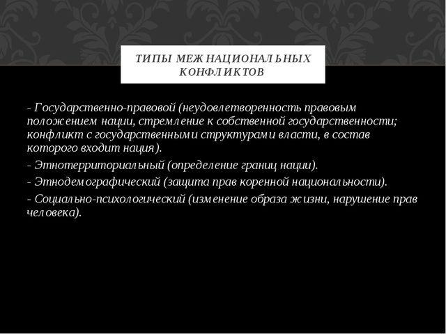 - Государственно-правовой (неудовлетворенность правовым положением нации, стр...