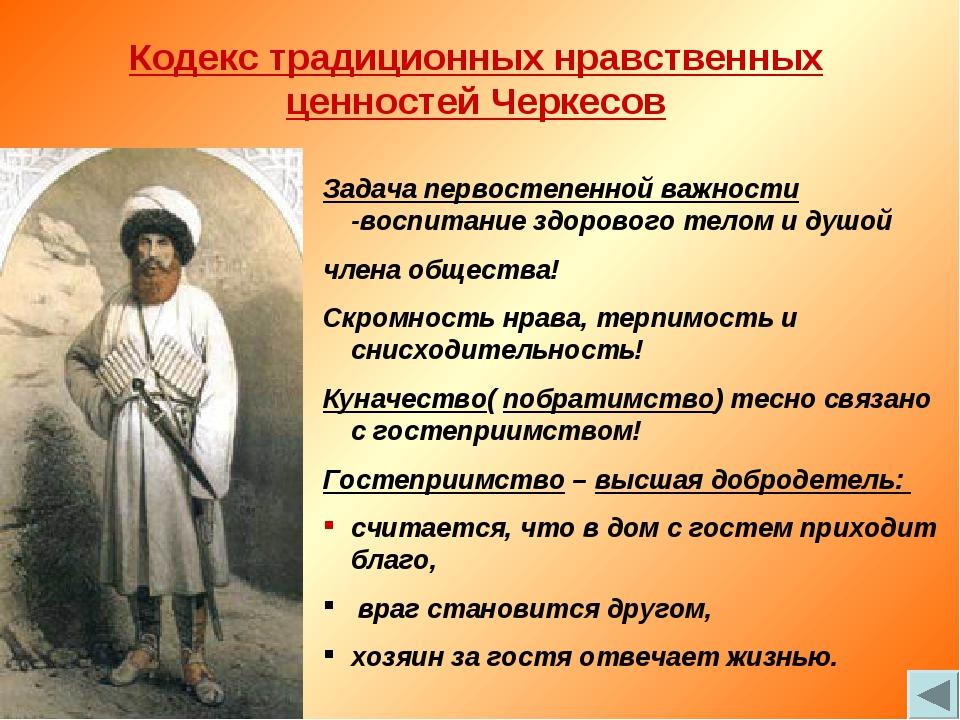Кодекс традиционных нравственных ценностей Черкесов Задача первостепенной важ...