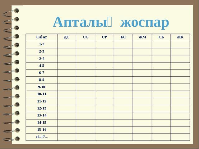 Апталық жоспар СағатДССССРБСЖМСБЖК 1-2 2-3 3-4 4-...