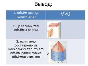 Вывод: 1. объём всегда положителен V>0 2. у равных тел объёмы равны V1=V2 3.