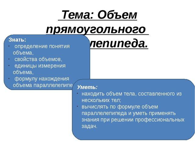 Тема: Объем прямоугольного паралелепипеда.  Знать: определение понятия объ...