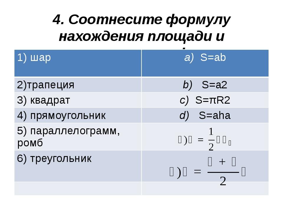 4. Соотнесите формулу нахождения площади и геометрическую фигуру: 1)шар a)S=a...