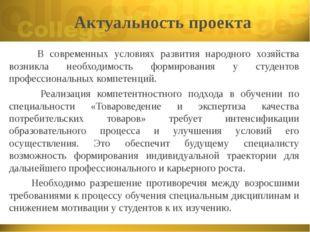 Актуальность проекта В современных условиях развития народного хозяйства возн