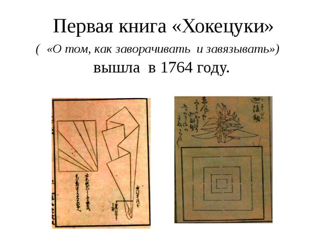 Первая книга «Хокецуки» ( «О том, как заворачивать и завязывать») вышла в 176...