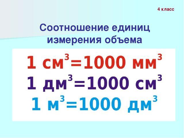 Соотношение единиц измерения объема 4 класс