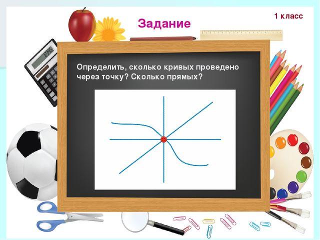 Задание Определить, сколько кривых проведено через точку? Сколько прямых? 1 к...