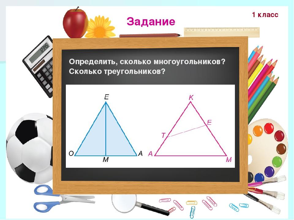 Задание Определить, сколько многоугольников? Сколько треугольников? 1 класс