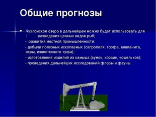 Общие прогнозы Чухломское озеро в дальнейшем можно будет использовать для : -