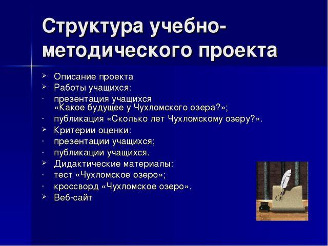 Структура учебно-методического проекта Описание проекта Работы учащихся: през...