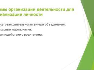 Формы организации деятельности для социализации личности досуговая деятельнос