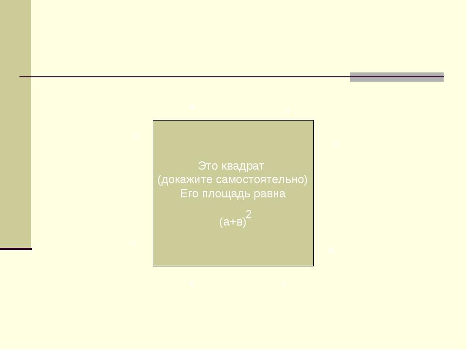 Это квадрат (докажите самостоятельно) Его площадь равна (а+в) 2 а в а в а в а в