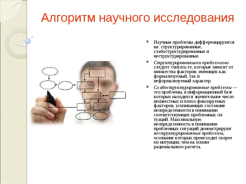 Алгоритм научного исследования Научные проблемы дифференцируются на: структур...