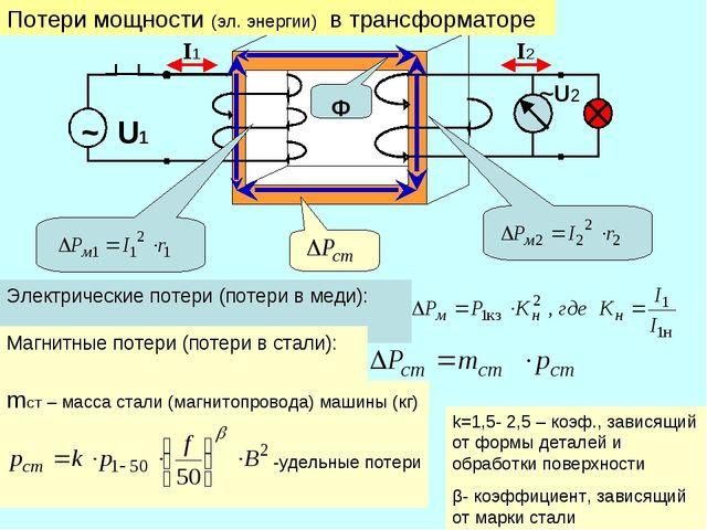 Электрические потери (потери в меди): Магнитные потери (потери в стали): mст...