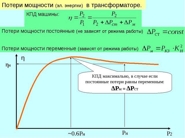 Потери мощности (эл. энергии) в трансформаторе. Потери мощности постоянные (н...