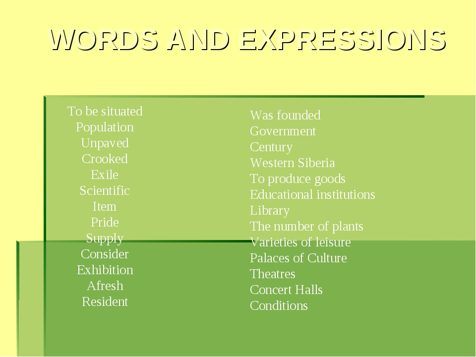 WORDS AND EXPRESSIONS To be situated Population Unpaved Crooked Exile Scienti...