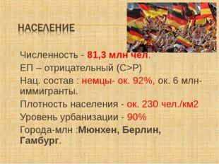Численность - 81,3 млн чел. ЕП – отрицательный (С>Р) Нац. состав : немцы- ок