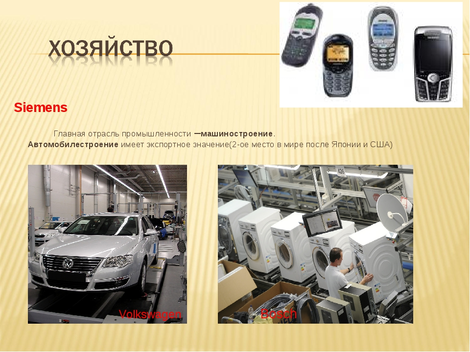 Siemens Главная отрасль промышленности –машиностроение. Автомобилестроение и...