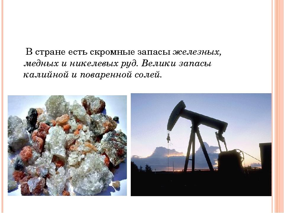 В стране есть скромные запасы железных, медных и никелевых руд. Велики запас...