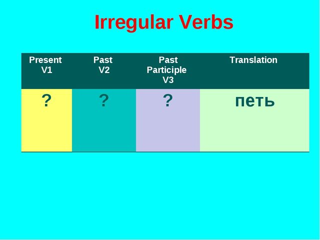 Irregular Verbs Present V1Past V2Past Participle V3Translation ???петь