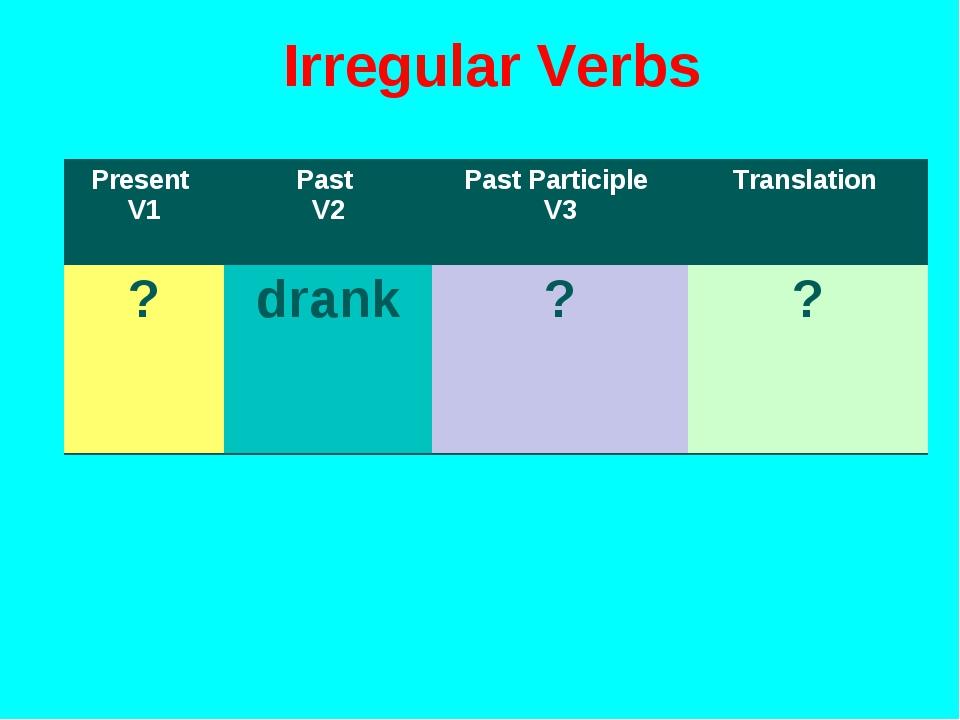 Irregular Verbs Present V1Past V2Past Participle V3Translation ?drank??