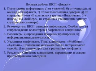 Порядок работы ШСП «Диалог»: Поступление информации: а) от учителей, б) от уч