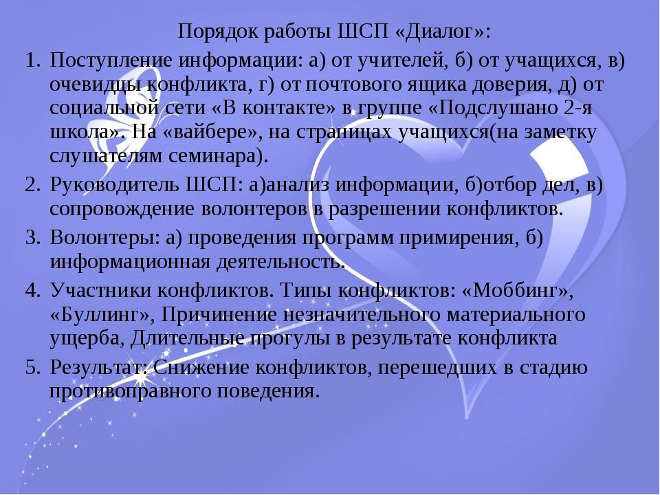 Порядок работы ШСП «Диалог»: Поступление информации: а) от учителей, б) от уч...