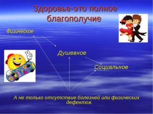 Здоровье-это полное благополучие Физическое Душевное Социальное А не только о