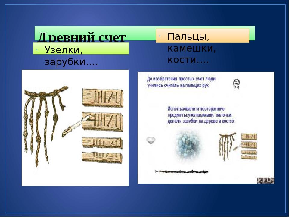 Древний счет Узелки, зарубки…. Пальцы, камешки, кости….