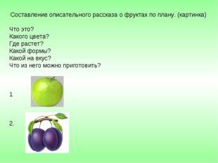 Составление описательного рассказа о фруктах по плану. (картинка) Что это? К