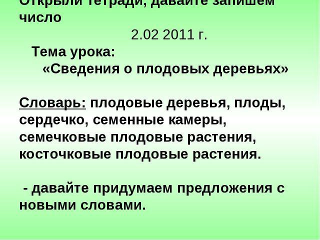 Открыли тетради, давайте запишем число 2.02 2011 г. Тема урока: «Сведения о п...
