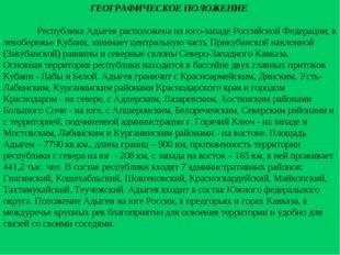 ГЕОГРАФИЧЕСКОЕ ПОЛОЖЕНИЕ Республика Адыгея расположена на юго-западе Российс