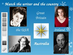 Match the writer and the country Australia Ireland the USA Great Britain