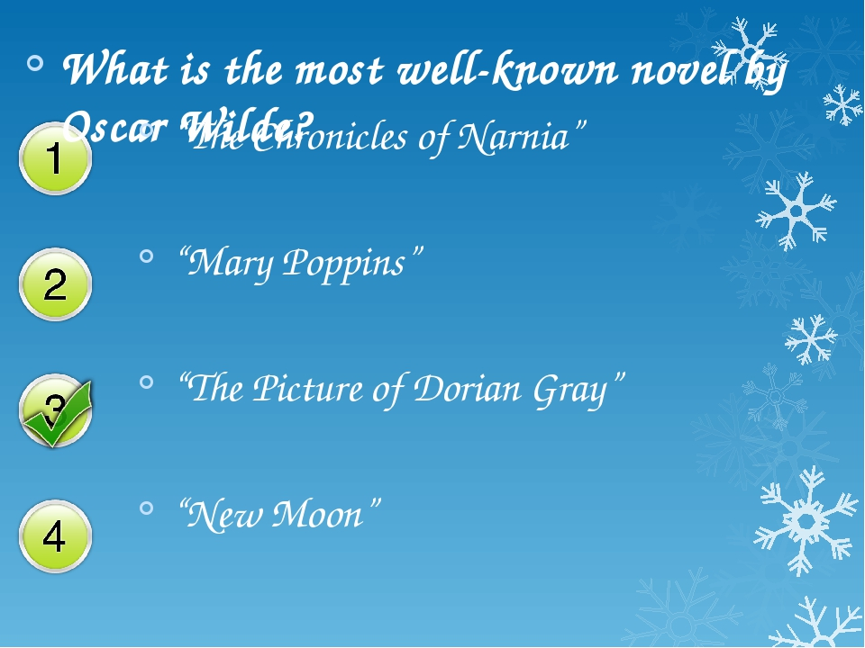 """What is the most well-known novel by Oscar Wilde? """"The Chronicles of Narnia""""..."""