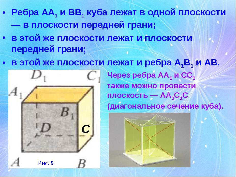 Ребра АА1 и ВВ1 куба лежат в одной плоскости — в плоскости передней грани; в...