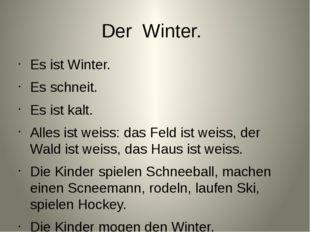 Der Winter. Es ist Winter. Es schneit. Es ist kalt. Alles ist weiss: das Feld