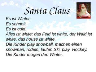 Santa Claus Es ist Winter. Es schneit. Es ist cold. Alles ist white: das Fel
