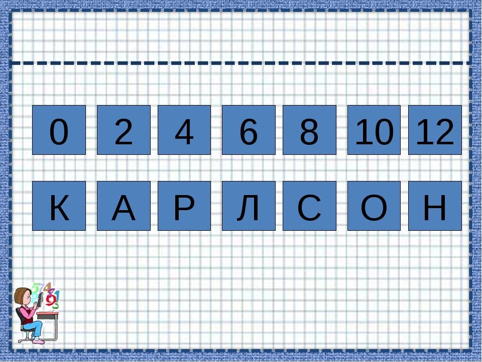 0 2 4 8 6 12 10 К А Р Л С О Н