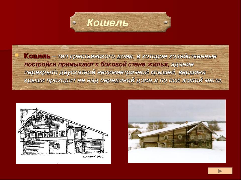 Кошель – тип крестьянского дома, в котором хозяйственные постройки примыкают...