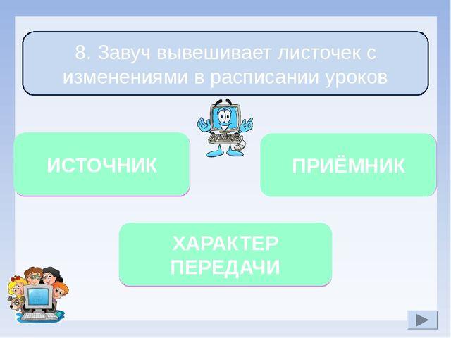 Односторонний Учащиеся и учителя 8. Завуч вывешивает листочек с изменениями в...