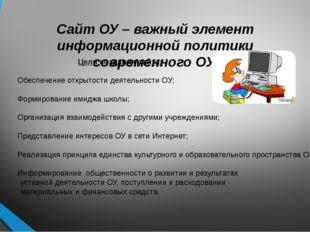 Сайт ОУ – важный элемент информационной политики современного ОУ. Цели создан