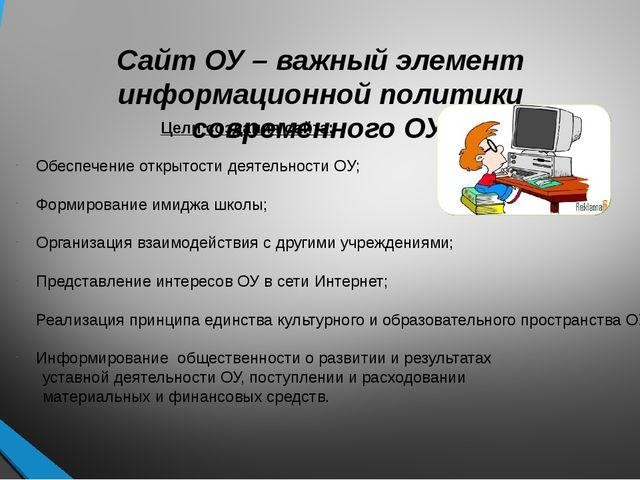 Сайт ОУ – важный элемент информационной политики современного ОУ. Цели создан...