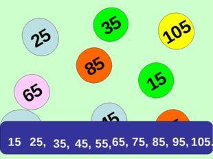95 25 85 65 45 35 15 105 75 15 25, 35, 45, 65, 75, 85, 95, 105. 55,
