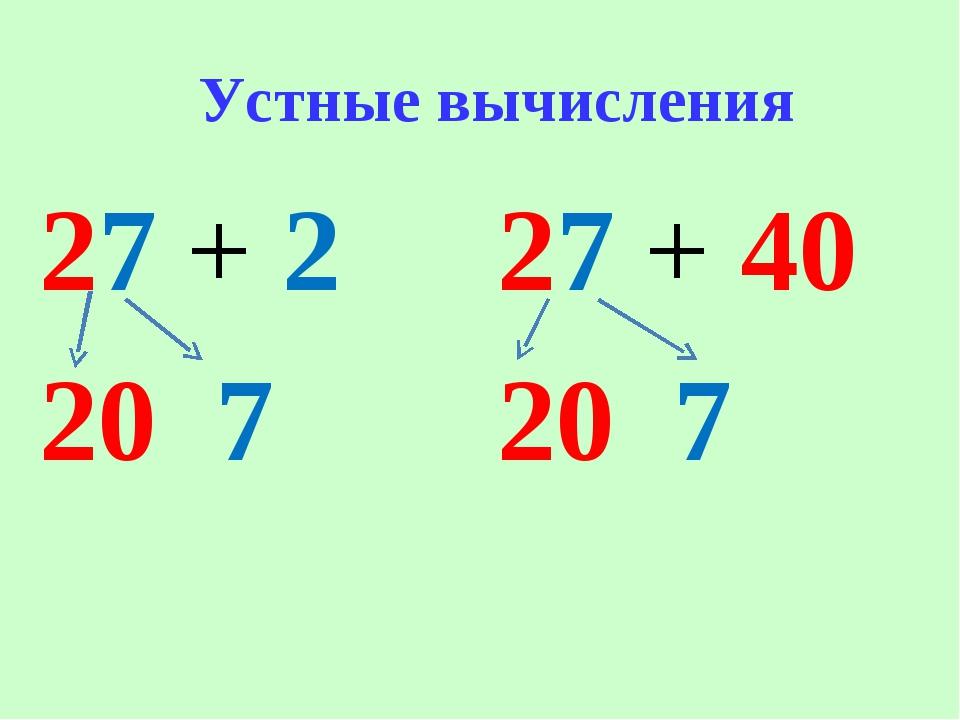 Устные вычисления 27 + 2 20 7 27 + 40 20 7