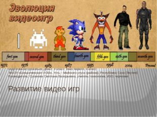 Развитие видео игр Подготовили:Прокопьев Данил ,9 класс; Вако Кирилл, 8 класс